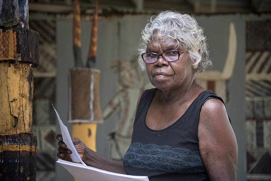 Maggie Kerinaiua is translating old Tiwi stories to English - portrait by Heide Smith
