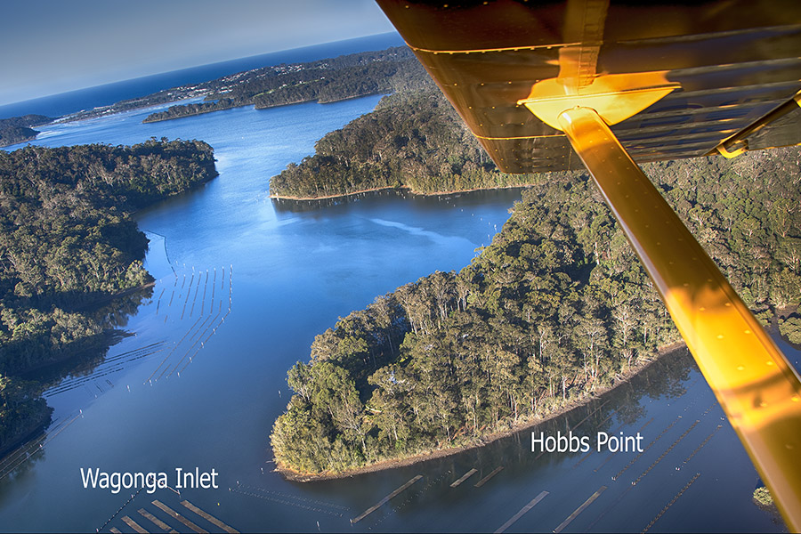 aerial photograph of Hobbs Point on Wagonga Inlet Narooma NSW South Coast